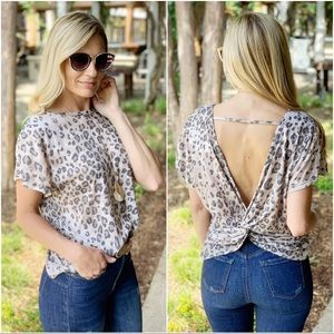 Taupe leopard cross back top